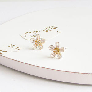 Marguerite Silver Flower Ear Studs - earrings