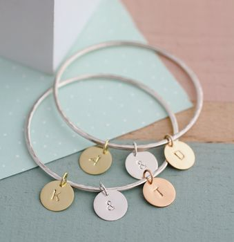 Personalised Silver Letter Tag Bangle