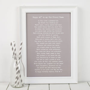 Bespoke Framed Birthday Poem Print