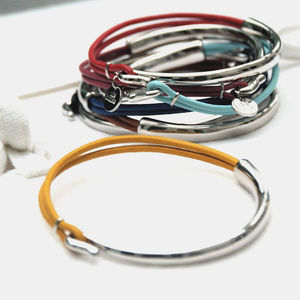 Personalised Sofia Silver And Leather Bangle - gifts for her