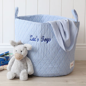 Blue Gingham Storage Bag - winter sale
