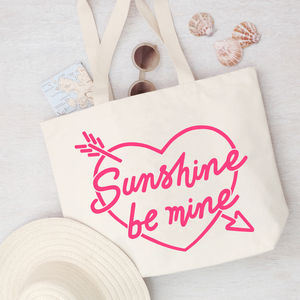'Sunshine Be Mine' Canvas Beach Bag Neon - fashion sale