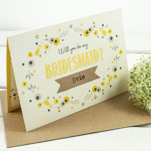 Will You Be My Bridesmaid Card Floral Yellow