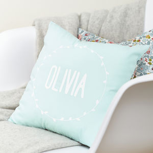 Personalised Name Cushion Mint Blue And Liberty Fabric