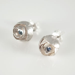Silver Little Flower Earrings With Blue Sapphires - earrings