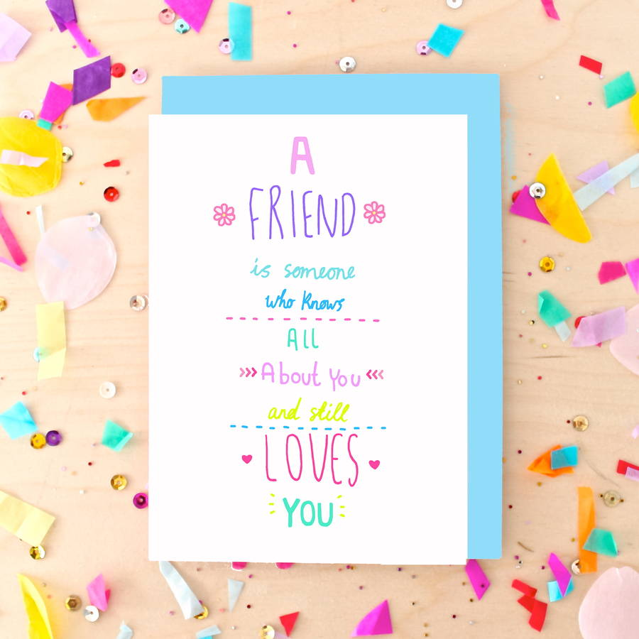 Best friend quote greeting card by ginger pickle