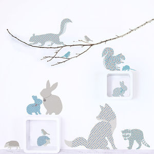 Woodland Animal Wall Stickers In Blue And Grey - decorative accessories