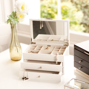White Wooden Jewellery Box - boxes, trunks & crates