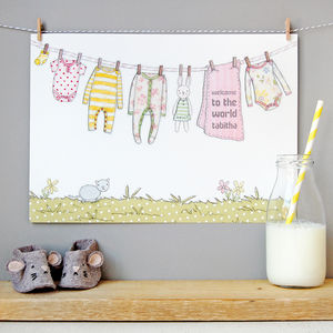 Personalised Welcome To The World Girl Print - children's pictures & paintings