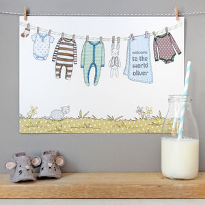 Personalised Welcome To The World Boy Print - pictures & prints for children