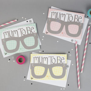 Baby Shower Card Glasses Mum To Be - baby shower gifts & ideas
