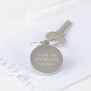Personalised Thank You Teacher Keyring - gifts for teachers