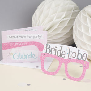 Bride To Be Hen Party Bridal Card Glasses