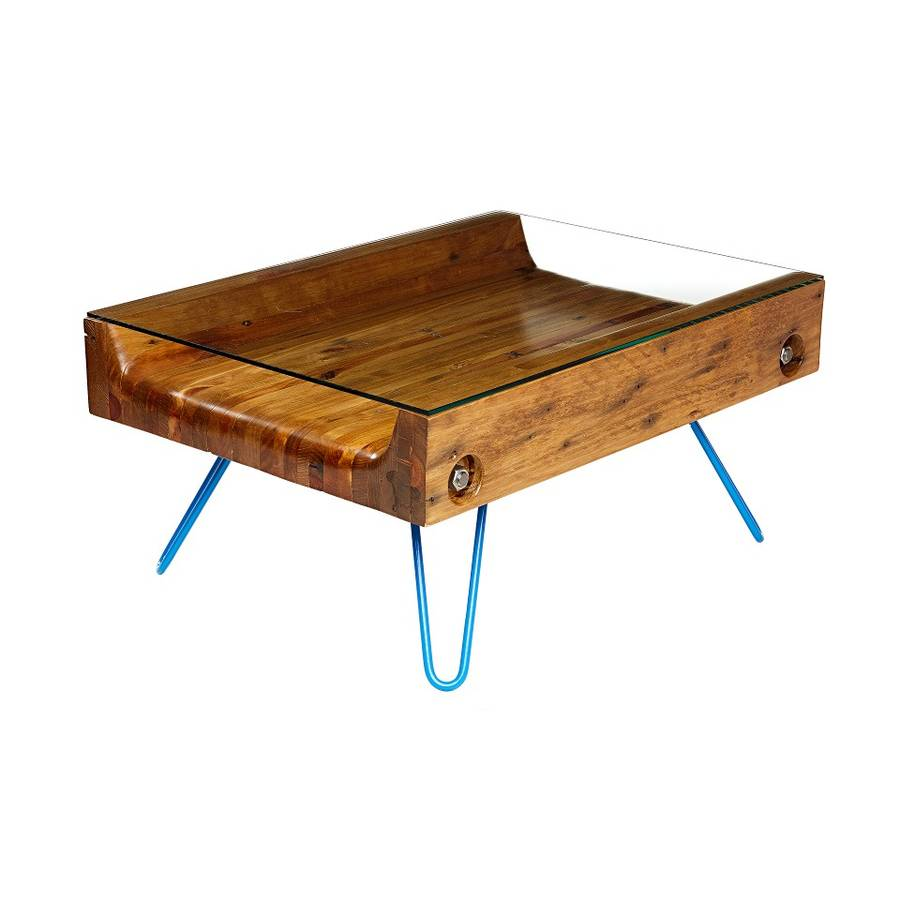 Upsidedown reclaimed wood coffee table by hey bulldog design Recycled wood coffee table