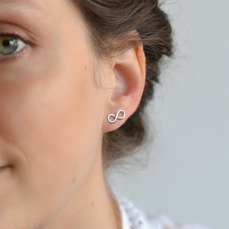 small sterling stud infinity earrings dogeared silver