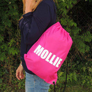 Personalised Large Name Kit Bag - drawstring bags