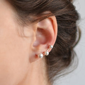 Sterling Silver Three Pearl Ear Climbers - earrings