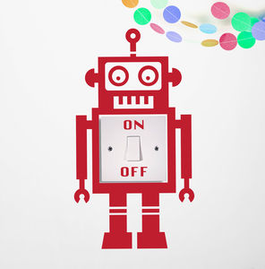 Light Switch Robot Vinyl Wall Sticker - wall stickers