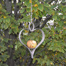 Aged Metal Heart Apple Birdfeeder