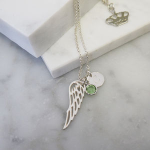 Sterling Silver Wing Birthstone Charm Necklace