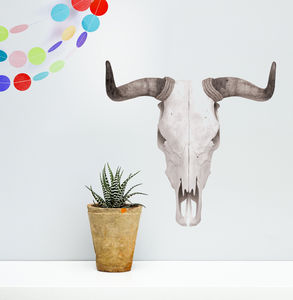 Monochrome Stag And Bull Skull Wall Sticker - wall stickers