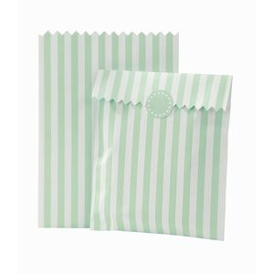 Striped Mint Treat Bags And Stickers - favour bags, bottles & boxes