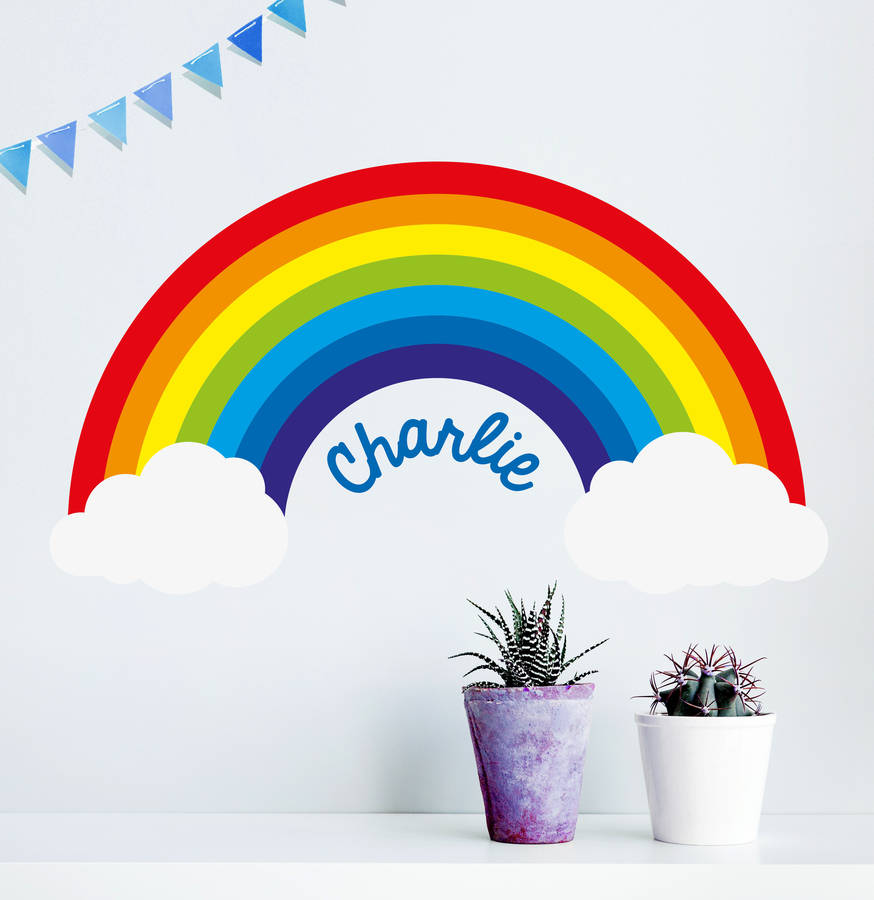 39 personalised rainbow 39 wall sticker by oakdene designs for Appliqu mural autocollant