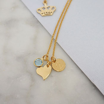 Sterling Silver Heart Birthstone Charm Necklace