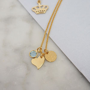Sterling Silver Heart Birthstone Charm Necklace - wedding jewellery