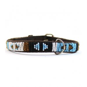 Aspiga Beaded Leather Dog Collar Turquoise Arrow