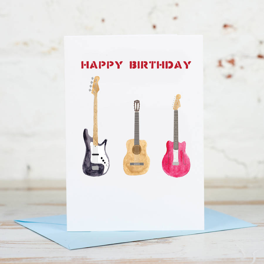 Happy birthday bassacousticelectric guitar card by yellowstone art happy birthday bassacousticelectric guitar card bookmarktalkfo Choice Image