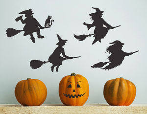 Halloween Witches Wall Sticker Set - decorative accessories