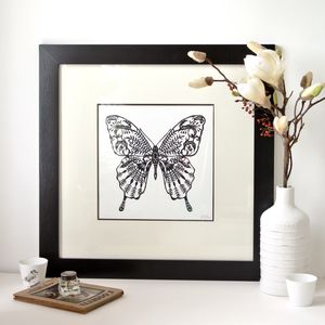 Handmade Framed Butterfly Papercut - mixed media & collage