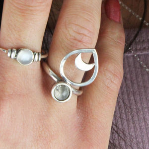 Bohemian White Moonstone And Moon Ring - rings