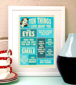 Ten Things I Love About You, Print For Her - posters & prints