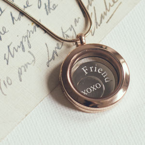 Small Mixed Metal Disc Locket - necklaces