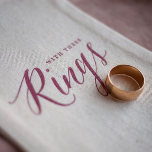 Calligraphy Wedding Ring Bag Printed In Red