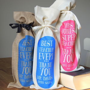 Personalised Best Teacher Bottle Gift Bag - gifts for teachers