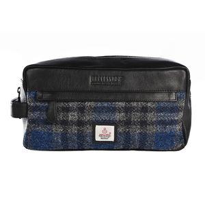 Harris Tweed Wash Bag With Italian Nappa Leather