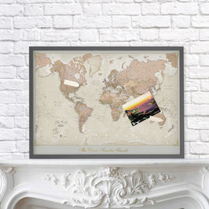 Framed Personalised Antique World Map - pictures & prints for children