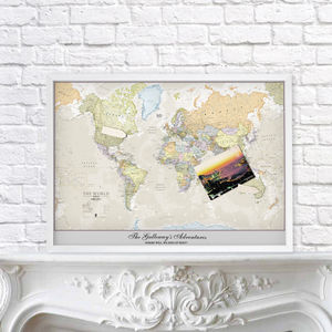 Framed Personalised Classic World Map