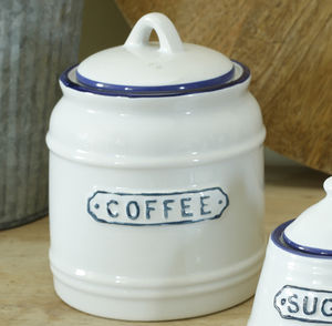 Blue And White Coffee , Tea Or Sugar Jar