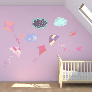 Kites And Clouds Wall Stickers