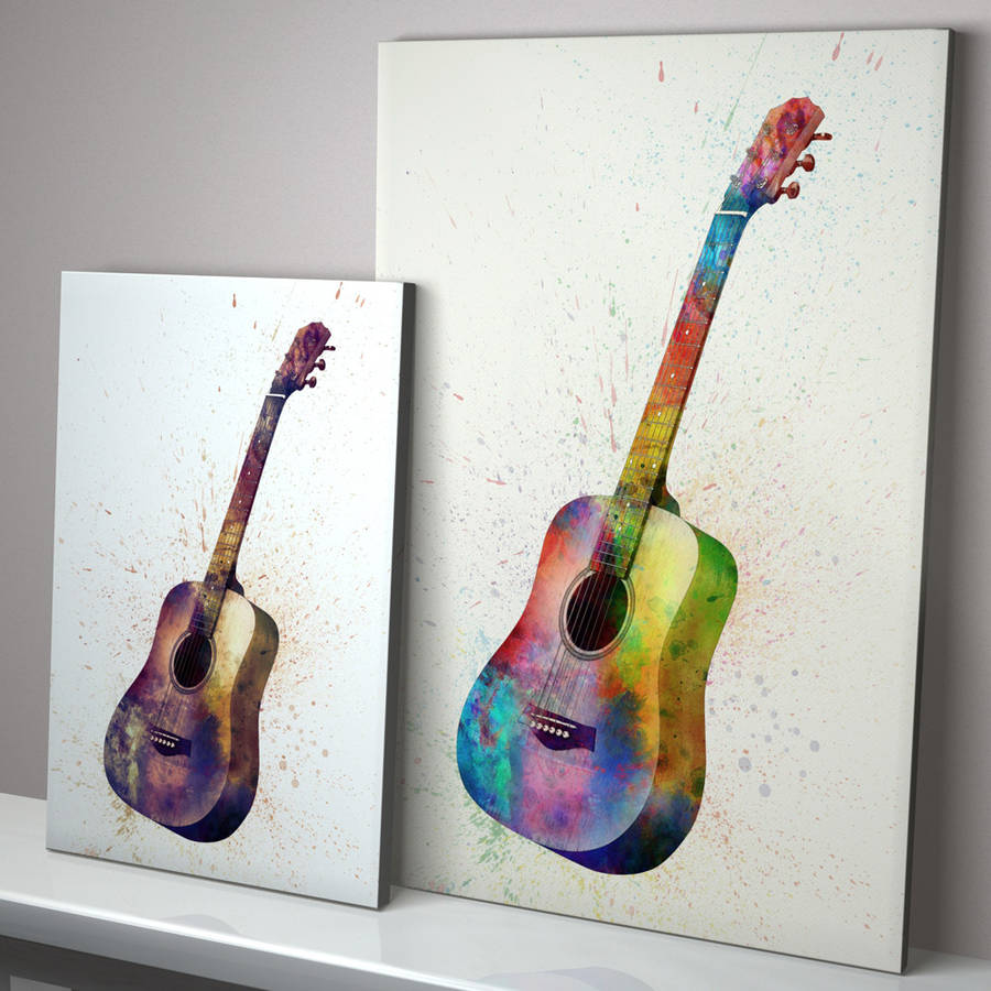 Acoustic Guitar Watercolour Abstract Art Print By Artpause