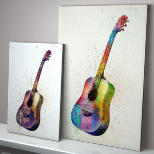 Acoustic Guitar Watercolour Abstract Art Print - pictures, prints & paintings