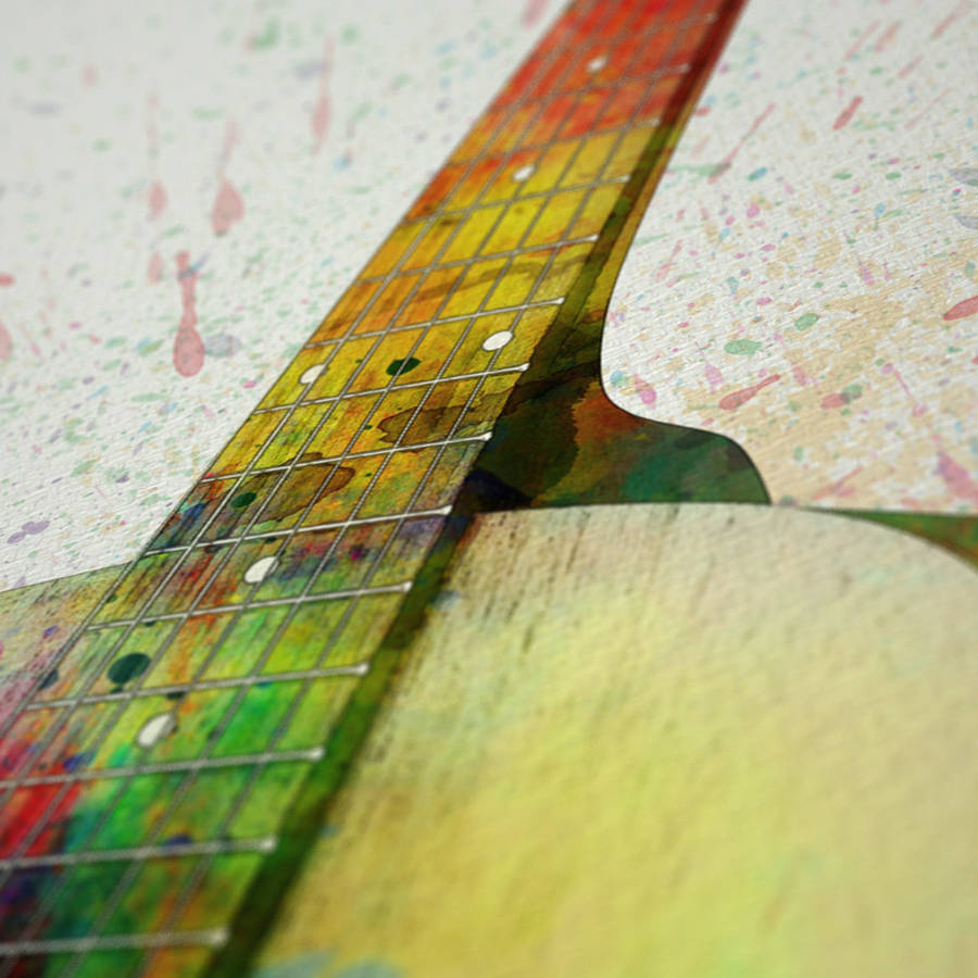 acoustic guitar watercolour abstract art print by artpause ...