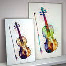 Violin Watercolour Abstract Art Print