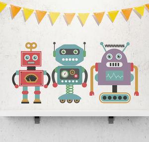 Children's Retro Robot Sticker Set