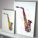 Saxophone Watercolour Abstract Art Print