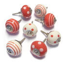 Set Of Eight Red And White Ceramic Cupboard Door Knobs